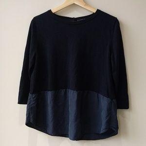 COS Size L Silk Wool Shirt 3/4 Sleeve Button Back